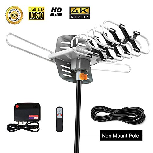 TV Antenna,Sobetter Amplified Outdoor 150 Mile Range Digital TV Antenna with UHF/VHF/FM - 360°Rotation - High Performance Outdoor Antenna for digital TV, 32.8-Feet Coax cable(Without Pole)