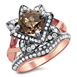 Smjewels 2.0 Ct Brown Round Sim.Diamond Lotus Flower Engagement Ring Set 14K Rose Gold Plated