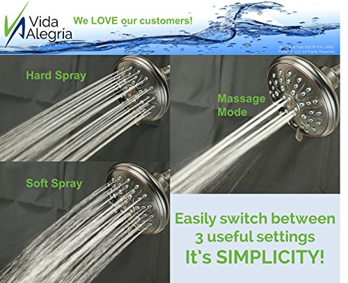 Vida Alegría 5-Inch SIMPLICITY Designer 2.5GPM Shower Head - 3 Sprays (Oil Rubbed Bronze)