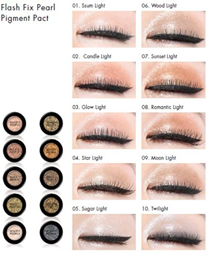 Beauty People Flash Fix Pearl Pigment Pact (1.8g) Korean Cosmetics Shadow (10 Colors) (#05 SUGAR LIGHT) by BEAUTY PEOPLE