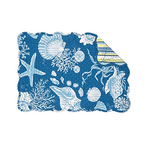 C&F Home Cortez Coastal Beach Starfish Shell Coral Place Mats Rectangular Cotton Quilted Reversible Washable Placemat Set of 6 Rectangular Placemat Set of 6 Blue, White Green & Yellow ()