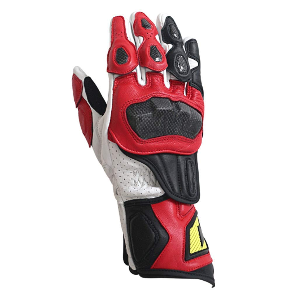 AsDlg Men Genuine Leather Glove Racing Mountain Bike Bicycle Cycling Off-Road/Dirt Bike Gloves Road Racing Motorcycle Motocross Sports Gloves (Color : Red, Size : M)