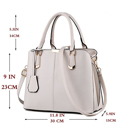 FiveloveTwo Bags Handle Purse Top Purse Tote Handbag Satchel Womens Beige Shoulder and rY78Ar