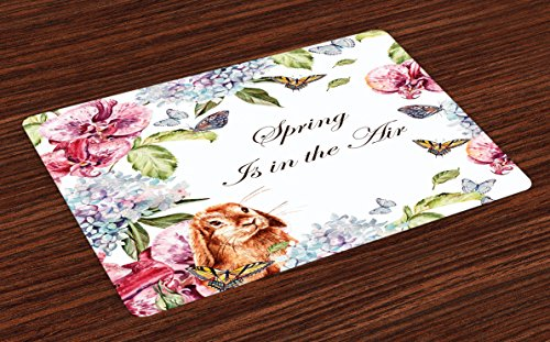 Ambesonne Spring Place Mats Set of 4, Hyacintha Flowers Rabbits Orchid Butterfly Leaves Botany Bouquet Watercolor Art…