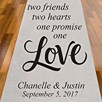 Two Friends Two Hearts One Promise One Love Personalized Aisle Runner