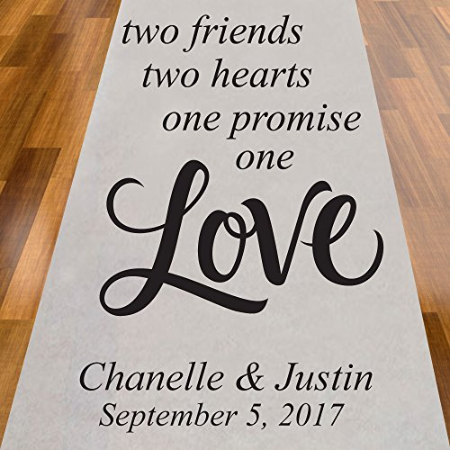 Two Friends Two Hearts One Promise One Love Personalized Aisle Runner -