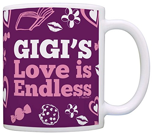 Mother's Day Gift for Gigi's Love is Endless Funny Gift Coffee Mug Tea Cup Purple ()