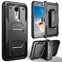 LG Aristo Case, LG Fortune Case,LG Phoenix 3/LG K8 2017/LG Rebel 2 Case, KASEMI [Built in Screen Protector] Heavy Duty Dual Layer Protection Locking Belt Swivel Clip Holster with Kickstand - Black