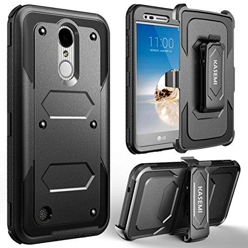 LG K20 V Case, LG K20 Plus Case, LG Harmony Case, LG LV5 Case, LG K10 2017 Case, KASEMI [Built in Screen Protector] Heavy Duty Dual Layer Protection Locking Belt Swivel Clip Holster with Kickstand