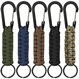 SENHAI 5 Pcs Paracord Keychains with Carabiner, Braided Lanyard Ring Hook Clip for Keys Knife Flashlight Outdoor Camping Hiking Backpack Fit Men Women - 5 Colors