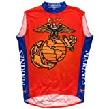 Us Marines - Mens Logo Sleeveless Cycling Jersey Small Red