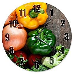 ONION Green PEPPER BROCCOLI Veggies Clock - Large 10.5 Wall Clock - 2282