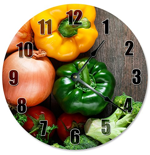 ONION Green PEPPER BROCCOLI Veggies Clock - Large 10.5