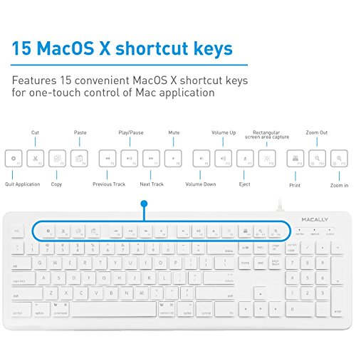 Macally Full Size USB Wired Computer Keyboard For Mac And Windows PC With 15 Apple Shortcut Keys
