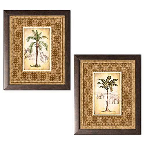 Brown Framed Print - wallsthatspeak Lovely Tropical Palm Trees and Safari Elephant and Giraffe Set; Two 11x14in Brown Framed Prints; Ready to Hang! (The Border is Part of The Print)