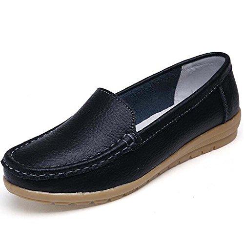 Toe Moccasins Hattie on Slip Women Round Pumps Leather Black Loafers Stpqwgq0r