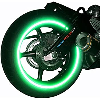"""customTAYLOR33 (All Vehicles) Green High Intensity Grade Reflective Copyrighted Safety Rim Tapes (Must select your rim size), 17"""" (Rim Size for Most SportsBikes)"""