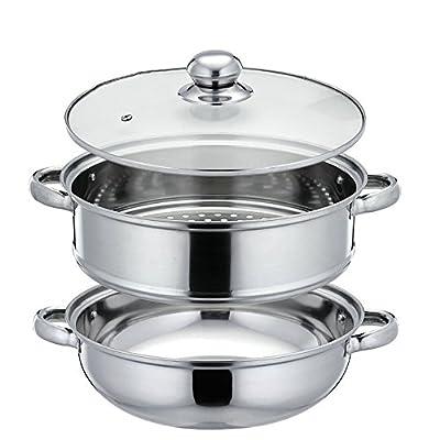 Nadalan Stainless Steel Stack Steam Pot Set Saucepot Double Boiler Cookware Pot 2 Tier (28cm)