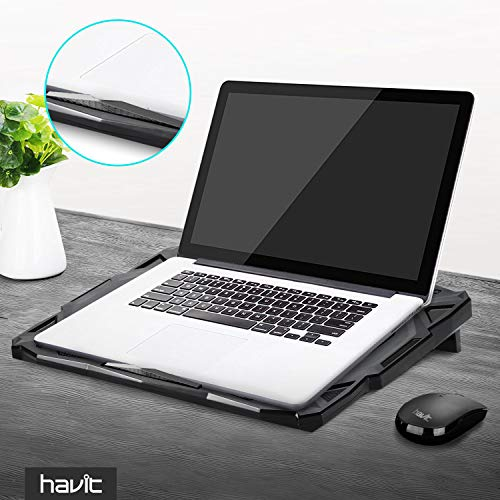HAVIT 5 Fans Laptop Cooling Pad for 14-17 Inch Laptop, Cooler Pad with LED Light, Dual USB 2.0 Ports, Adjustable Mount Stand (Black) by Havit (Image #7)'