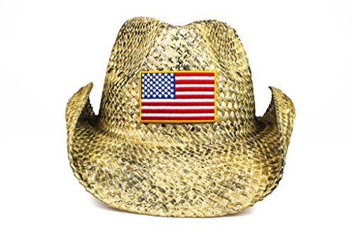 Cowbucker USA Distressed Flag Straw Cowboy Hat (Lightweight Outdoor Wide Brim Sun Hat) Distressed Straw Cowboy Hat