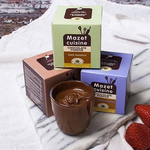 French Chocolate Fondue by Mazet - Milk Chocolate with Salted Caramel (3.17 ounce) (Caramel Fondue)
