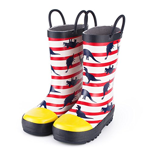 (KomForme Kids Rain Boots, Waterproof Rubber Printed with Handles in Various Prints and Different)