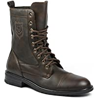Polar Fox Men's 801026 Tall Military Style Lace Up Combat Fashion Dress Boots