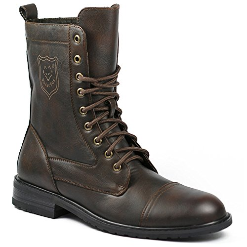 Polar Fox MPX-801026 Brown Mens Lace Up Military Combat Work Desert Ankle Boot w/ Leather Lining (13)