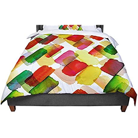 KESS InHouse Ebi Emporium Strokes Of Genius 4 Red Green Gold White Queen Comforter 88 X 88