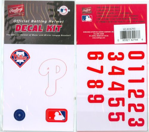(Philadelphia Phillies MLB Batting Helmet Decal Kit (Includes Official Team Logos Stickers, MLB Logo & Numbers for Youth Little League Players to Adult Recreation Players)