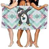 ATRXZ Microfiber Sand Free Beach Towel Blanket, Absorbent Lightweight Thin Towels, Dabbing Penguin Unisex Super Soft Bath Sheet