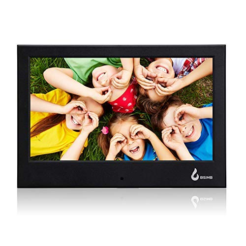 BSIMB Digital Picture Frame 7 Inch 800x480(16:9) Digital Photo Frame with Built-in Calendar/Clock and Auto Turn On/Off Function Support Up to 32GB SD/MMC/SDHC Card (Black)