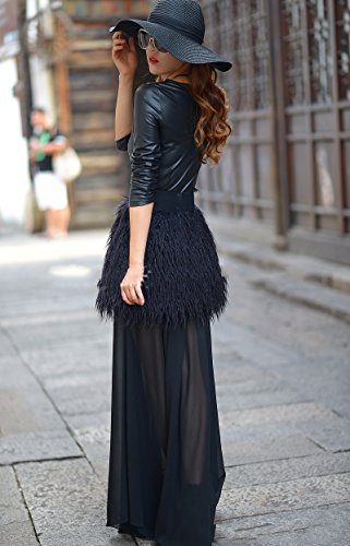 Manches Longues Allbebe Femmes Ceinturée Pu Cuir Fuax Robe Maxi Swing Mousseline De Fourrure Noire