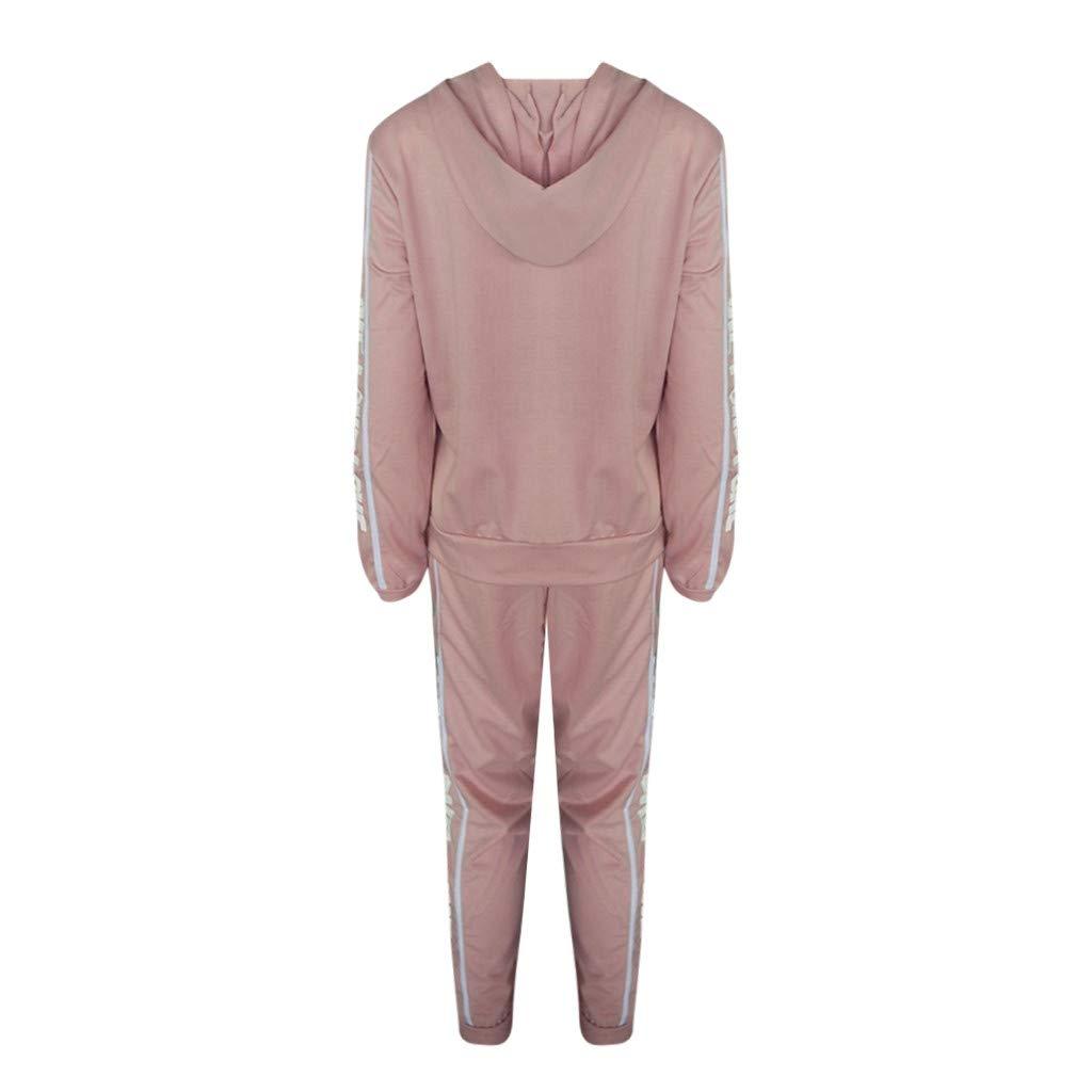 Fashion Women Casual Stripe Zipper Long Sleeve Pullover Sleeves Sport Tops+Long Tracksuit Sweatshirt Hoodies Pants Set by iLUGU (Image #3)
