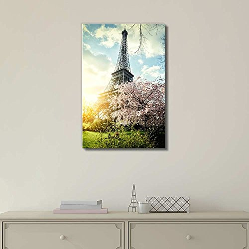 Springtime in Paris with Eiffel Tower Retro Style Wall Decor ation