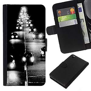 A-type (Headlamp Road Black White Poster) Colorida Impresión Funda Cuero Monedero Caja Bolsa Cubierta Caja Piel Card Slots Para HTC DESIRE 816