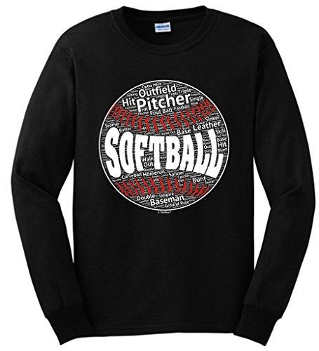 (Softball Mom Softball Word Collage Softball Player Gift Long Sleeve T-Shirt Small Black)