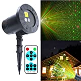 LED Projector Light Rotating Red & Green Star Laser Light Waterproof Snowflake Projector Light with RF Remote &16.4ft Cable for Outdoor House Decoration Birthday Wedding Party