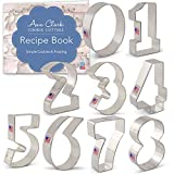 Numbers Cookie Cutter Set with Recipe Booklet - 9 piece - Ann Clark - Tin Plated Steel