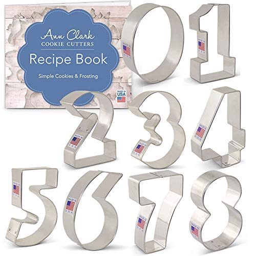 Numbers Cookie Cutter Set with Recipe Booklet - 9 piece - Ann Clark - Tin Plated Steel (Series 0 Tin)