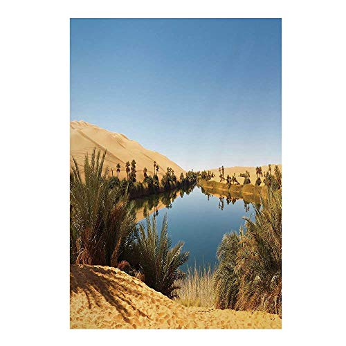 Desert Stylish Backdrop,Idyllic Oasis Awbari Sand Sea Sahara Libya Pond Lush Arid Country for Photography,59