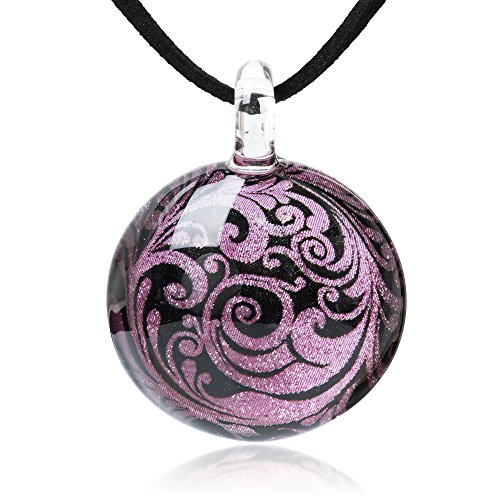 Chuvora Hand Blown Glass Jewelry Lavender & Black Abstract Flower Art Round Pendant Necklace, 17-19