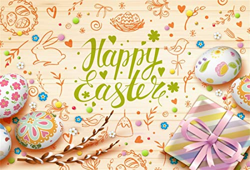 Baocicco 10x6.5ft Happy Easter Backdrop Easter Eggs Easter Gifts Branches Photography Background Stick Figure Grunge Backdrop Easter Party Children Adults Portrait Studio Prop