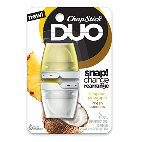 ChapStick DUO (Tropical Pineapple & Fresh Coconut Flavors, 1 Blister Pack of 2 Pieces) Full Lip Balm, 8 Hour Moisture, 0.194 Ounce Each