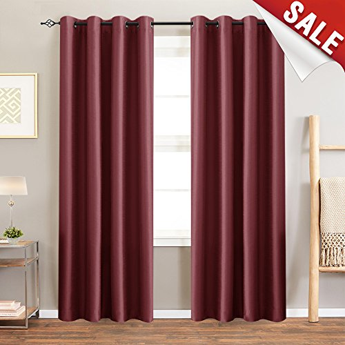 Cheap jinchan Blackout Curtains for Bedroom Window Treatment Set Faux Silk Satin Thermal Insulated Room Darkening Drapery for Living Room Grommet Top (50″ x 95″, Burgundy, Set of 2)