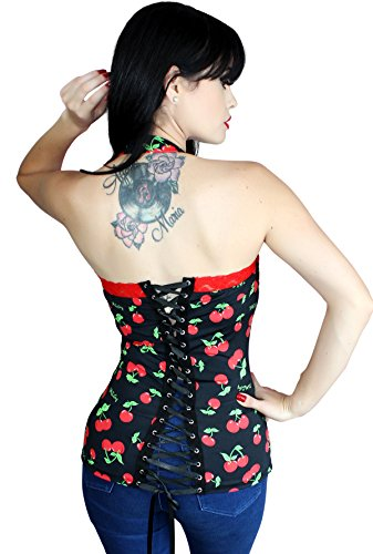 Cherry Pinup Halter Lace up Rockabilly Corset ~Black (S/M, BLACK)