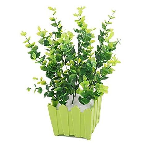 Planta de hierba artificial Silla de jardín Maceta de plástico DealMux Familia decoración de escritorio