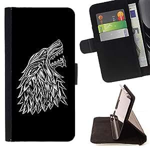 For Sony Xperia Z1 L39 Case , Lobo Crest- la tarjeta de Crédito Slots PU Funda de cuero Monedero caso cubierta de piel