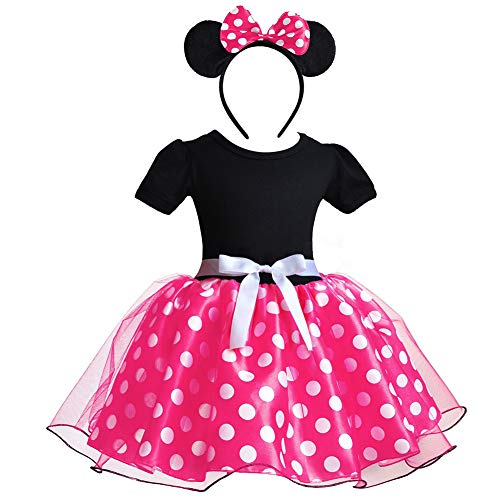 Toddler Girls Polka Dots Costume Cosplay Minnie Princess Dress Birthday Pageant Party Tulle 3D Mouse Ear Bowknot Headband Fancy Halloween Leotard Ballet Dance Outfit Evening Gowns #Rose 6 Years -