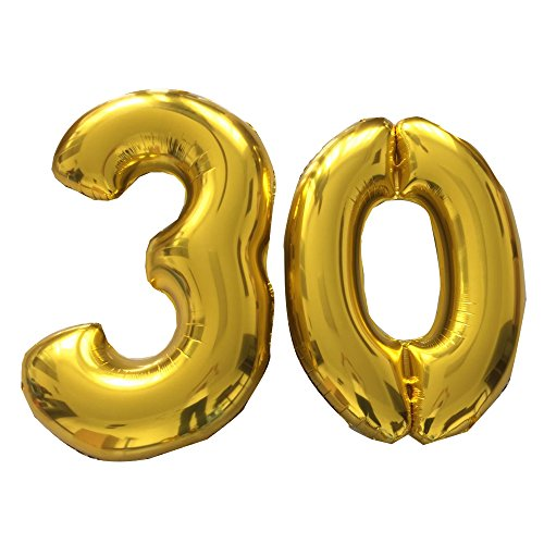 DE-Giant 30th Gold Number (30th Birthday Balloon)